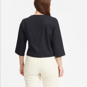Everlane luxe cotton 3/4 length cropped top